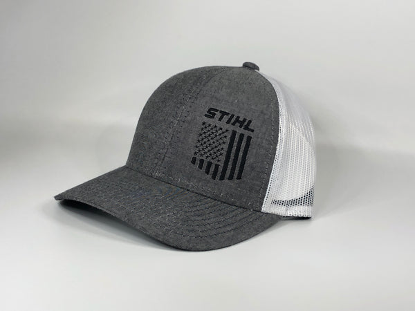 Stihl Hat Grey and Black with flag mesh back 8403006
