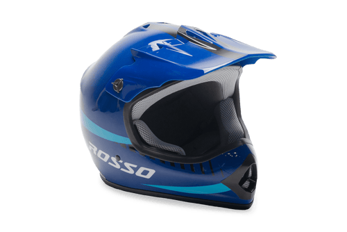 Rosso Motors Off Road Motocross ATV Helmets For Kids in Blue DOT Approved