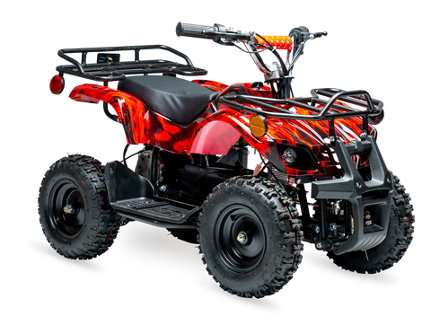 eQuad X Inferno Red 800W Utility ATV 4 Wheeler for Kids