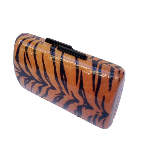 Clutch acrílico animal print naranja