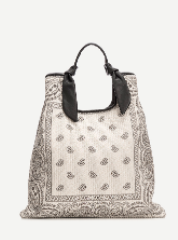 Bolso estampado diseño bandana rafia natural color blanco