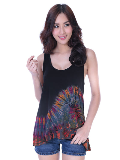Button Back Tank Top, 1/2 Tie Dye
