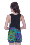 Sleeveless Button Back Tank Top, Half Tie Dye