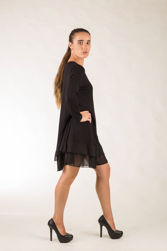 Long Sleeve Chiffon Hem Tunic Dress