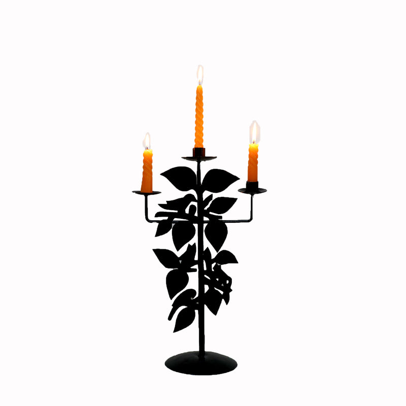Iron Candelabra with Tree and Birds Design - Woodsala