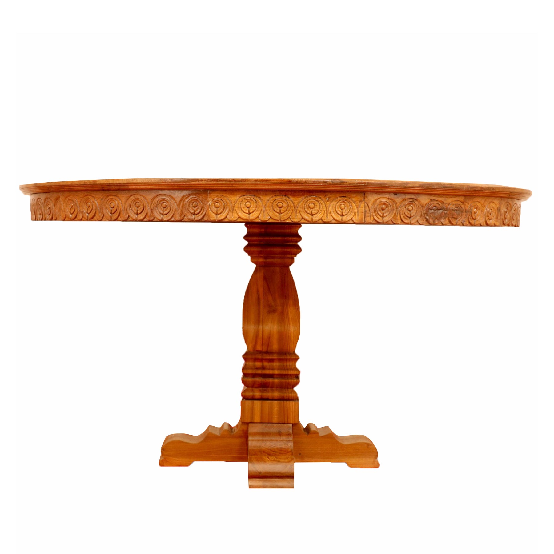 Teak wood Rounded carving Table