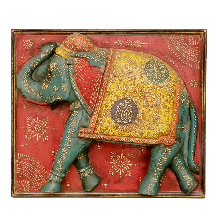 Red Three Dimensional Framed Elephant - Woodsala