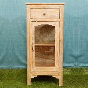 Antique-Finish Single-Door and Single-Drawer Bedside Table - Woodsala