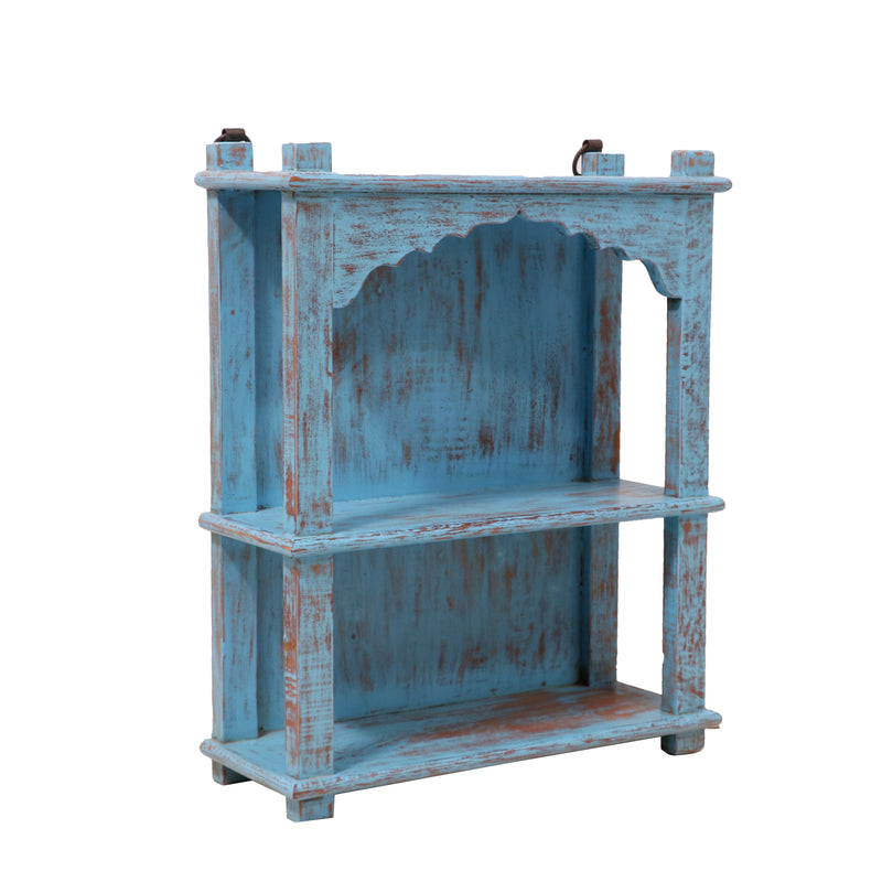 Solid wood Distressed Blue Open Rack