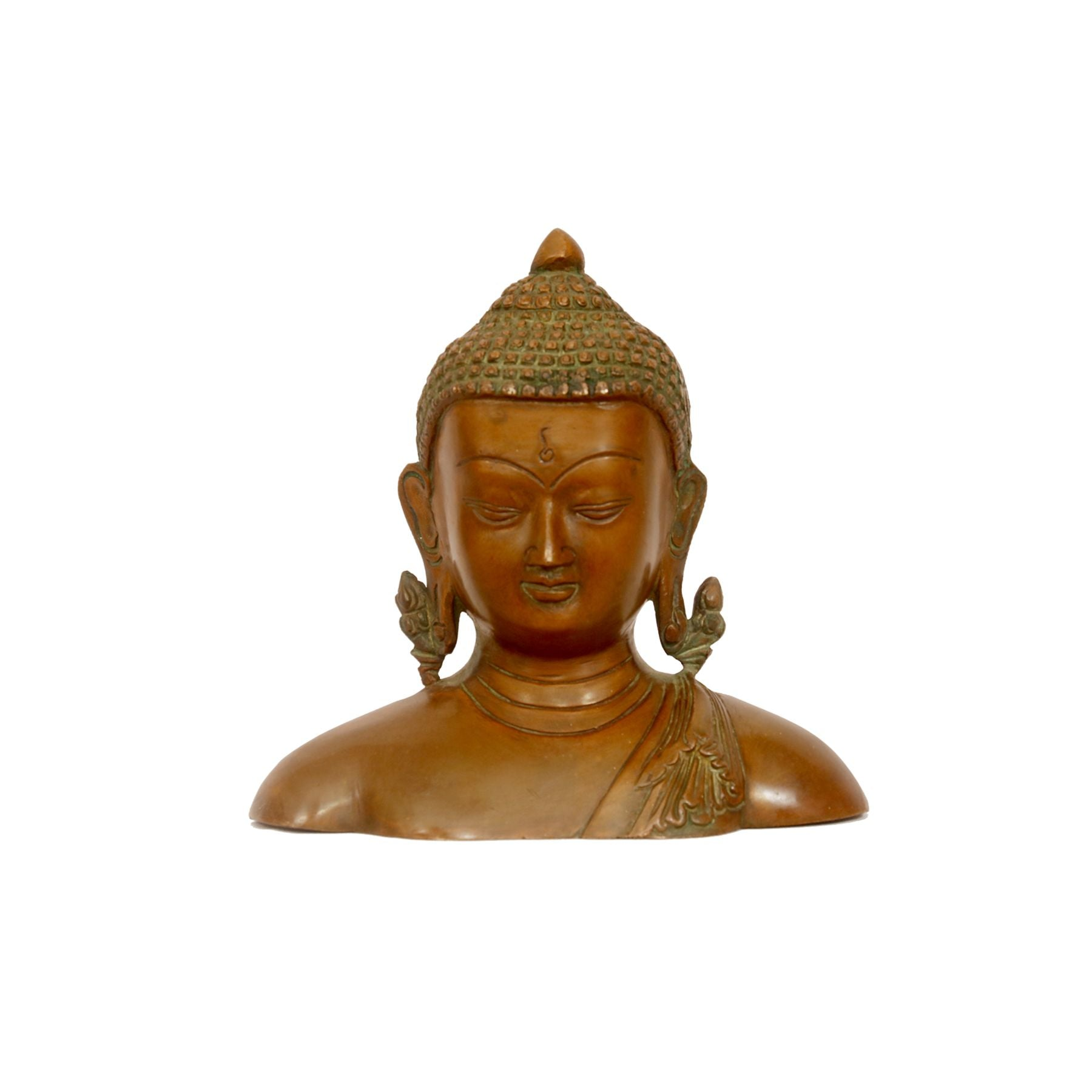 Antique Solid Metal Buddha Bust/Head Statue