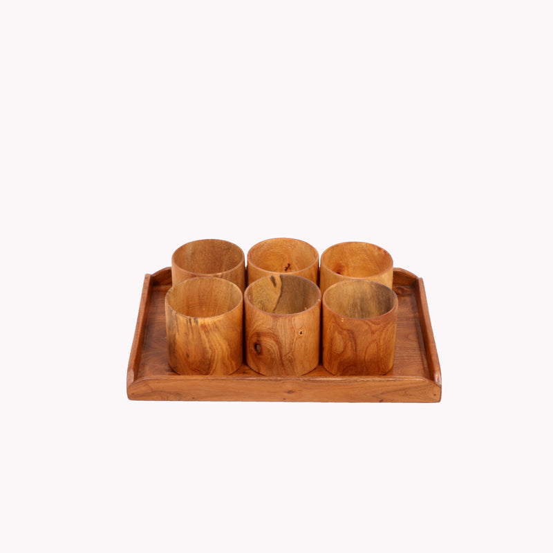 Light Toned Cup and Platter Set - Woodsala