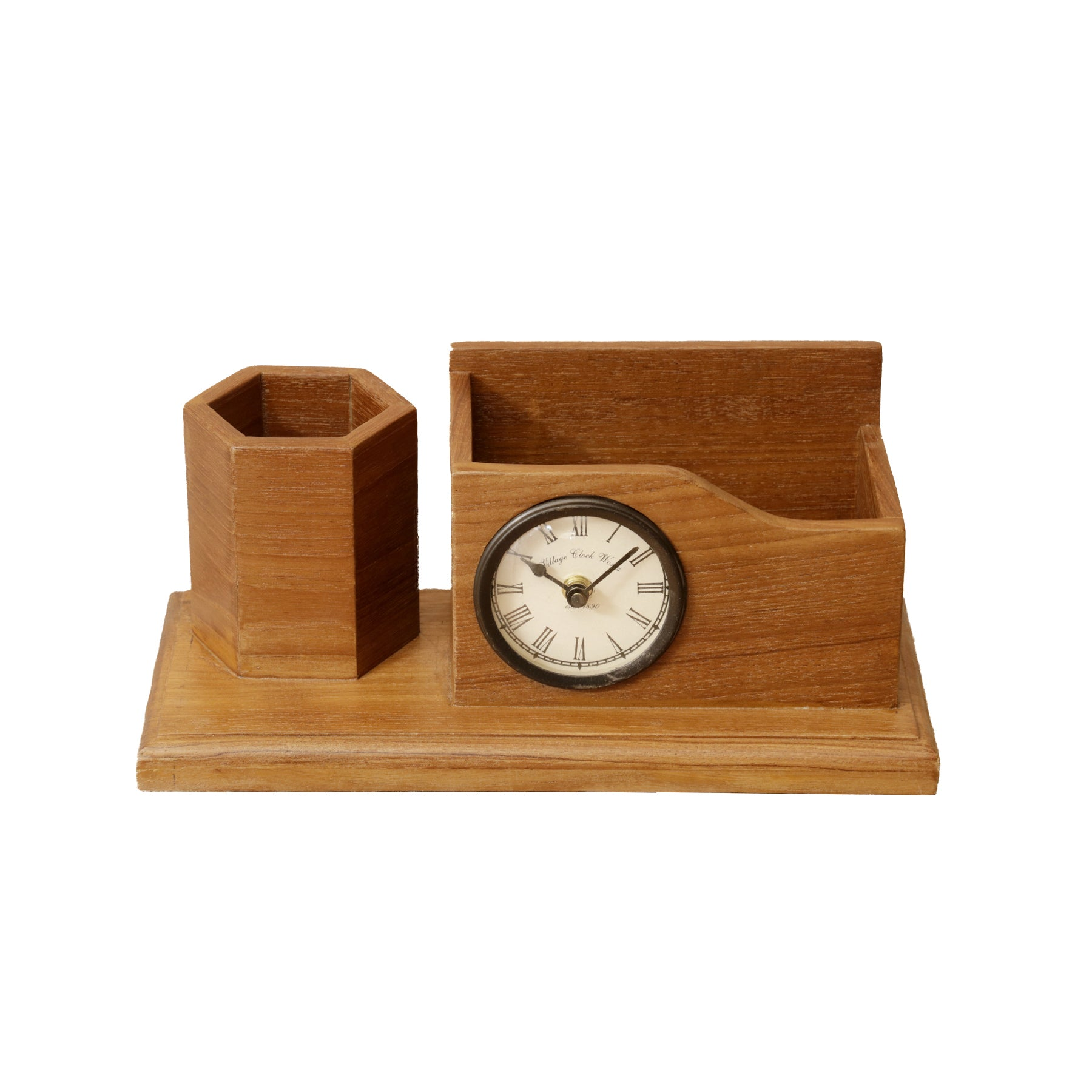 Wooden Desk Organizer with Natural Finish – 2 Slots