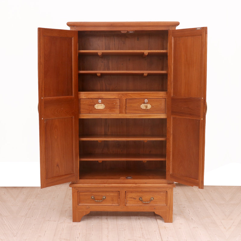 Classic 4-shelf and 4-drawer Wardrobe - Woodsala
