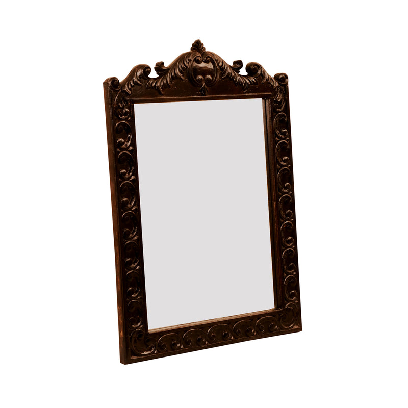 Dark Carved Mirror Frame - Woodsala