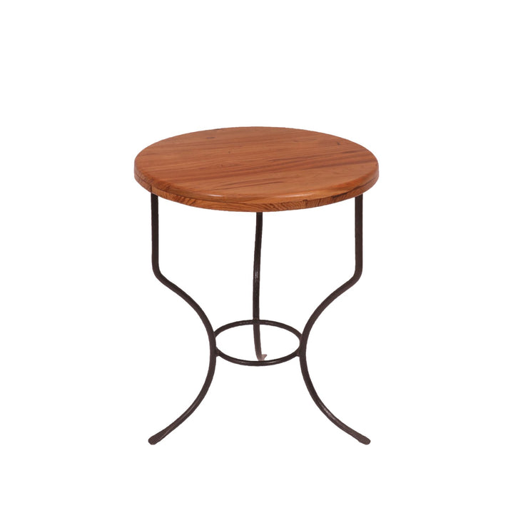 Rounded Metallic Teak Wood Kitchen Table