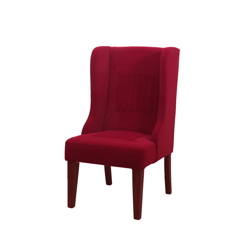 Bright Red Winged Chair - Woodsala
