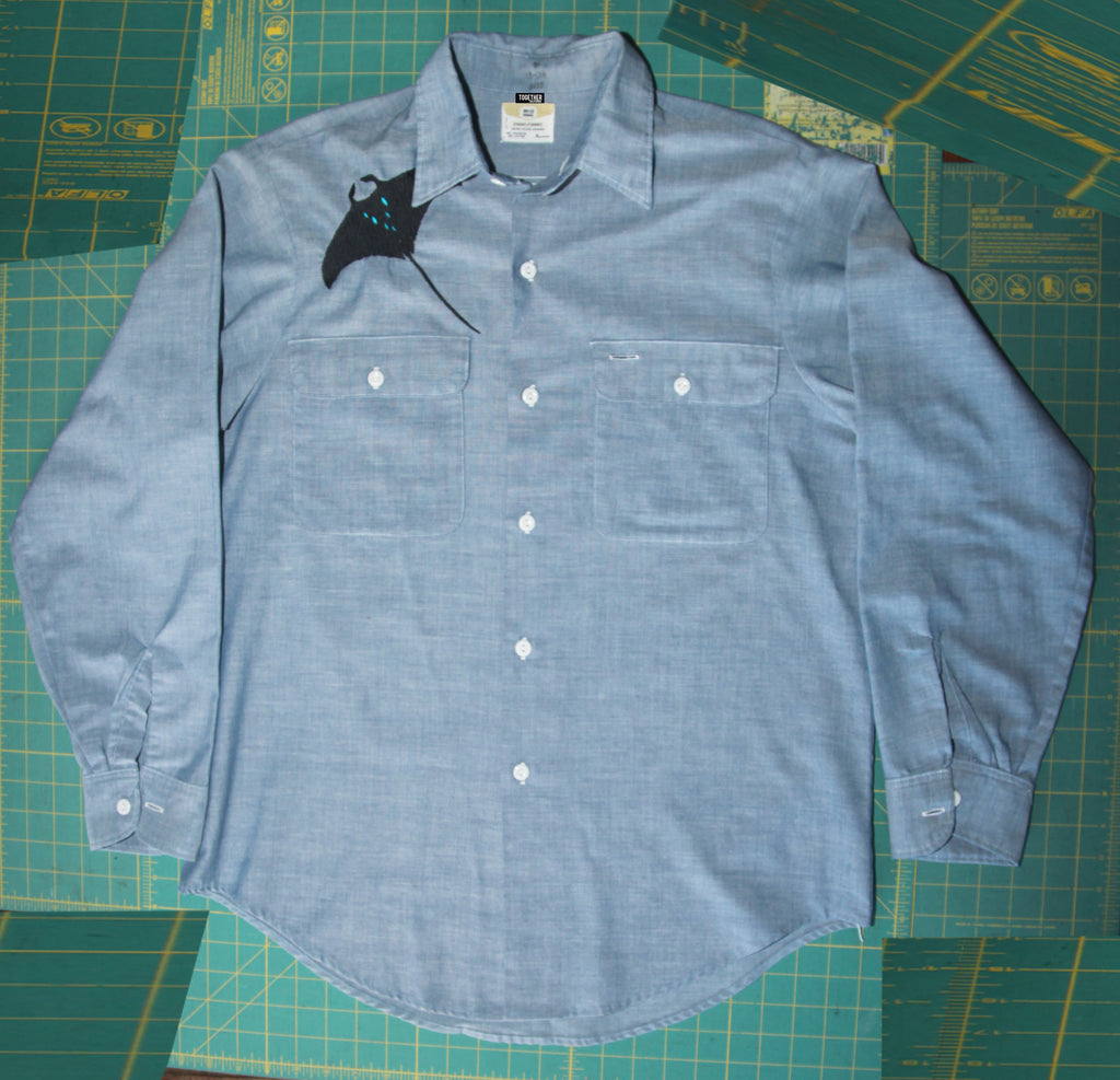 Manta Ray & Whale Song Button Down
