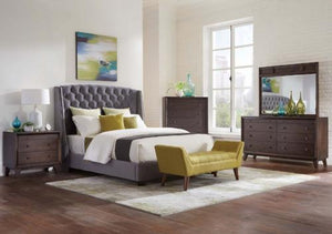 Pissarro 4-Piece Wingback Upholstered Queen Bedroom Set Grey And Cappuccino