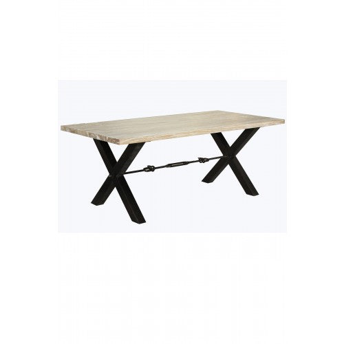 Calvin Dining Table Antique White and Smoke