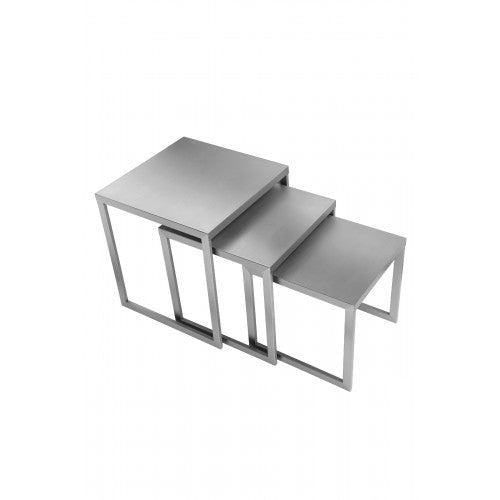 Clark Nesting Tables Brushed Metal