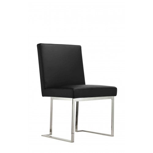 Dexter Side Chair Silver/Black PU