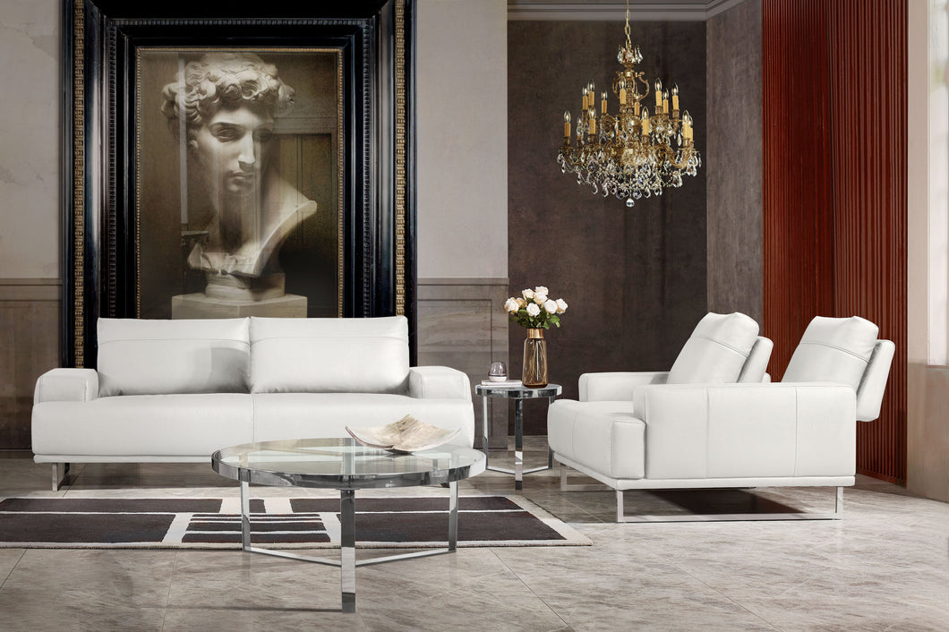 Russo Sofa and Loveeseat Collection in White Leather