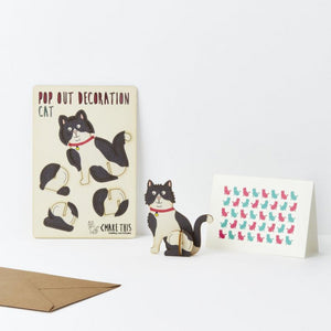 Pop Out Card - Black & White Cat
