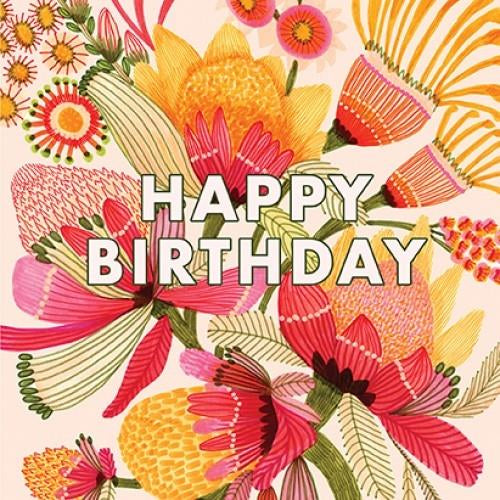 Kirsten Katz Greeting Card - Wild Proteas Birthday