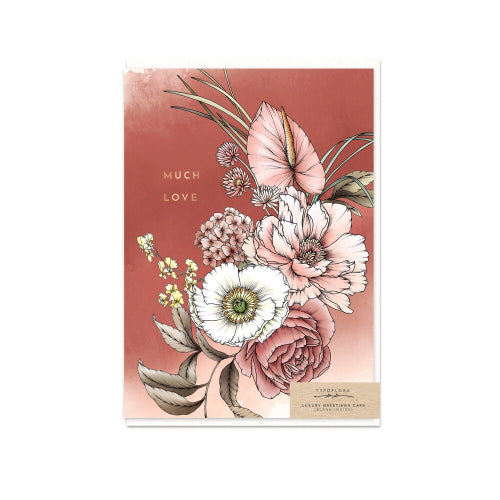 Typoflora Greeting Card - Peony Much Love