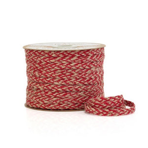 Ribbon: 7mm Braided Jute Natural/Red (per metre)