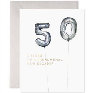 E Frances Greeting Card - Helium 50th