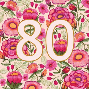 Kirsten Katz Greeting Card - Peony 80th Birthday