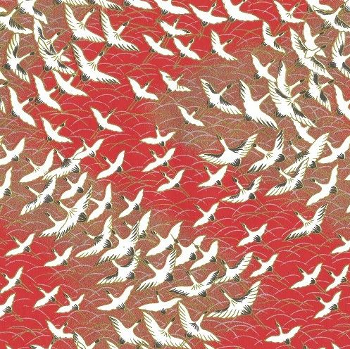 A4 (210x297mm) Chiyogami - White Cranes on Red