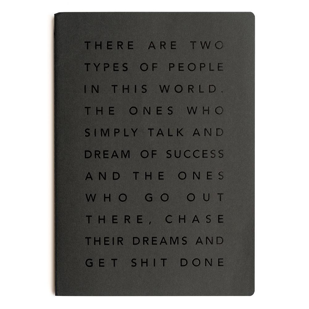 MiGoals Get Shit Done Notebook - A4, Manifesto, Black/Black Foil | MiGoals | Paperpoint Stationery South Melbourne