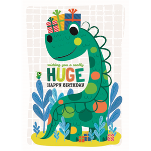 Little Red Owl Greeting Card - Birthday Dinosaur