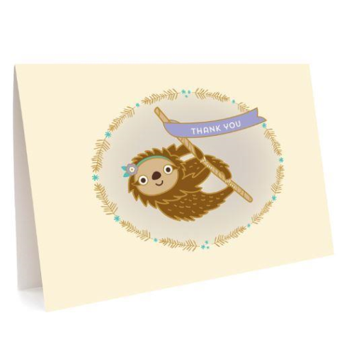 Night Owl Thank You Card Set - Sloth Banner | Night Owl | Paperpoint Stationery South Melbourne