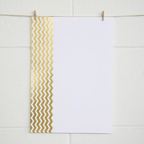 A4 (210 x297mm) Alex Mae Paper - Chevron, Gold Foil on White | Alex Mae | Paperpoint Stationery South Melbourne