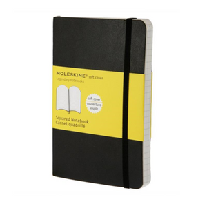 Moleskine Soft Cover Notebook - Squared, Pocket, Black | Moleskine | Paperpoint Stationery South Melbourne