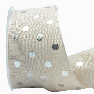 Ribbon: 38mm Wire Edge Metallic Polka Dots - Silver (per metre)