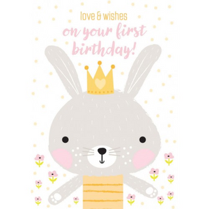 Little Red Owl Greeting Card - 1st Birthday Grey Rabbit | Little Red Owl | Paperpoint Stationery South Melbourne
