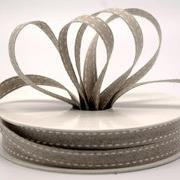 Ribbon: 10mm Double Stitch Linen - White (per metre)
