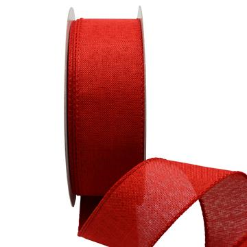 Ribbon: 38mm Wire Edge Plain Weave - Red (per metre)