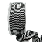 Ribbon: 19mm Woven V Stripe - Black/White (per metre)