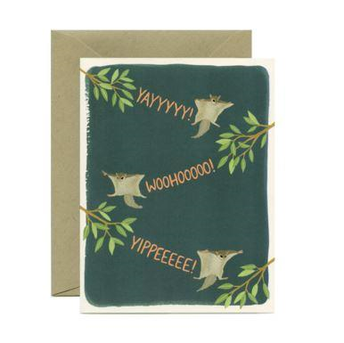 Yeppie Paper Greeting Card - Flying Squirrels