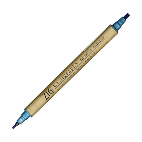 Kuretake Zig Calligraphy Dual Tip Metallic Marker - Blue | Zig | Paperpoint Stationery South Melbourne