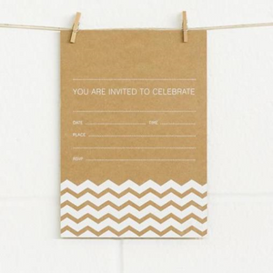 Alex Mae Invite Set - Chevron White/Kraft