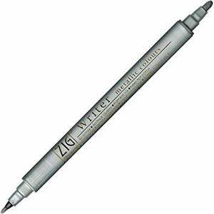 Kuretake Zig Writer Dual Tip Metallic Marker - Silver | Zig | Paperpoint Stationery South Melbourne