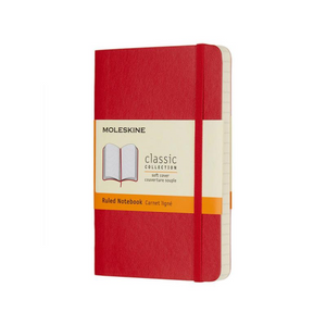 Moleskine Soft Cover Notebook - Ruled, Pocket, Scarlet Red | Moleskine | Paperpoint Stationery South Melbourne