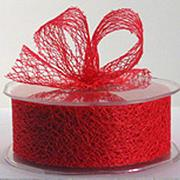 Ribbon: 38mm Open Mesh - Red (per metre)