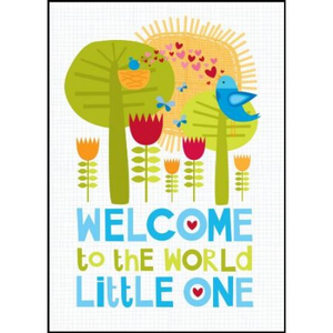 Little Red Owl Greeting Card - Welcome Lil One - Boy | Little Red Owl | Paperpoint Stationery South Melbourne